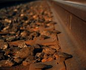 Rusty nails on a railroad track