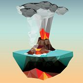 Volcano in low polygon style. Vector illustration