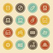 Computer Components Web Icon Set 1, Color Circle Buttons