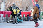 WROCLAW - OCTOBER 5: Enthusiasts of the old knights show their costumes and skills in a duel at the Cultural Center