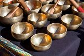 picture of tibetan  - Stall of tibetan Singing Bowls or Cup of life popular product in Nepal Tibet and India - JPG