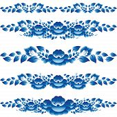 Blue Floral Design Elements And Page Decoration To Embellish You Bark