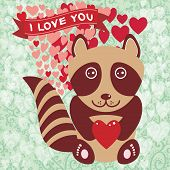 Cute Raccoon With Red Heart. Valentine's Day Card, Greeting Card
