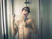 A singer under the shower