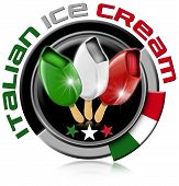picture of italian flag  - Black and grey icon with italian flag and three ice creams with stick - JPG