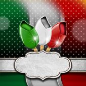stock photo of italian flag  - Background with italian flag three ice creams with stick and empty label - JPG