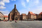 Nunurnberg, Germany - July 13 2014: The Frauenkirche (church Of Ladies) In Hauptmarkt, Nuremberg, Ba