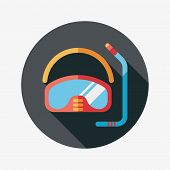 Mask And Snorkel Flat Icon With Long Shadow