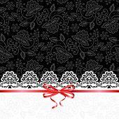 white lace on black background