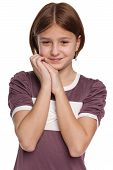 Shy Preteen Girl On The White