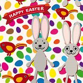Happy Easter Seamless Pattern. Rabbit, Eggs, Bird, Ribbon.