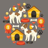 Set of icons and objects with cute dogs.