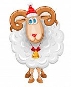 Christmas sheep in Santa hat, symbol of year 2015