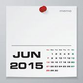 Simple 2015 year vector calendar : June 2015