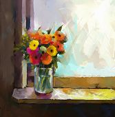 Gerbera flower.Abstract flower oil painting.Still life of a vase with a bouquet flowers