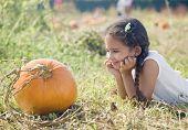 Hispanic girl looking at pumpkin