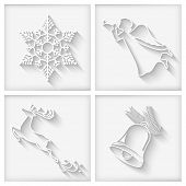 foto of christmas bells  - Vector collection of white long shadows Christmas icons with Christmas bell flying angel snowflake deer - JPG