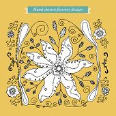 Hand-drawn flowery design