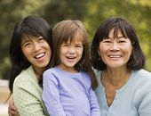 Portrait of multi-generational Asian female family members