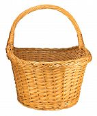 Splint Willow Wicker Basket, Isolated