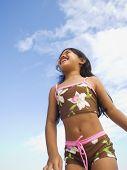 Pacific Islander girl wearing bathing suit