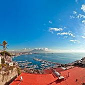 Naples Bay View From Posillipo With Mediterranean Sea - Italy