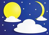 Paper Full Moon And Crescent Moon With Clouds And Stars