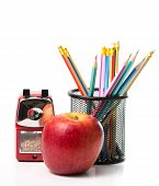 Apple,pencils And Red Color Metal Pencil Sharpener