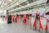 DUSSELDORF - SEP 16: airport interior on September 16, 2014 in Dusseldorf, Germany. Dusseldorf Airport located approximately 7 kilometres north of downtown Dusseldorf