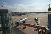 DUSSELDORF - SEP 16: airport airfield on September 16, 2014 in Dusseldorf, Germany. International airport of Dusseldorf  located approximately 7 kilometres of downtown Dusseldorf