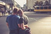Berlin, Germany - October 3. Homosexual Couple Waiting To Cross The Road