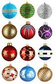 Set of Christmas Balls isolated on white background