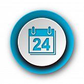 calendar blue modern web icon on white background