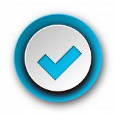 accept blue modern web icon on white background