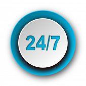 24/7 blue modern web icon on white background