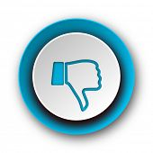 dislike blue modern web icon on white background