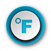 fahrenheit blue modern web icon on white background