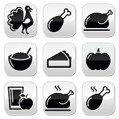Thanksgiving Day food buttons set - turkey, pumpkin pie, cranberry sauce, apple juice