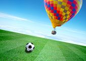 Soccer Field And Balloon With Beautiful Blue Sky