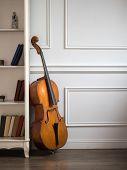 Cello in classical interior near bookshelf