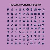 100 construction, industry icons, signs, illustrations, silhouettes set, vector