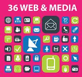 web, media communication, mobile icons, signs, illustrations, silhouettes set, vector