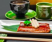 Premium Quality Grilled Eel And Miso Soup Served In Japanese Restaurant. Asian Food Background