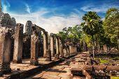 Bayon Temple At Sunset. Angkor Wat, Siem Reap, Cambodia