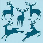 Christmas deers silhouette vector collection.