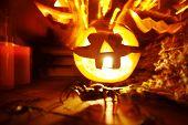 Blurred image with Halloween pumpkins
