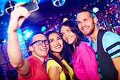 picture of selfie  - Young people taking selfie at party - JPG