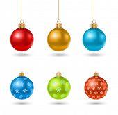 christmas ball toy icon design set