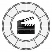 clapboard icon with filmstrip round frame design
