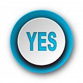 yes blue modern web icon on white background